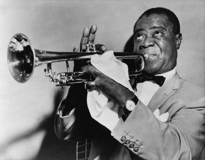 Louis Armstrong playing his trumpet