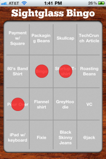 Sightglass Bingo iPhone app screen